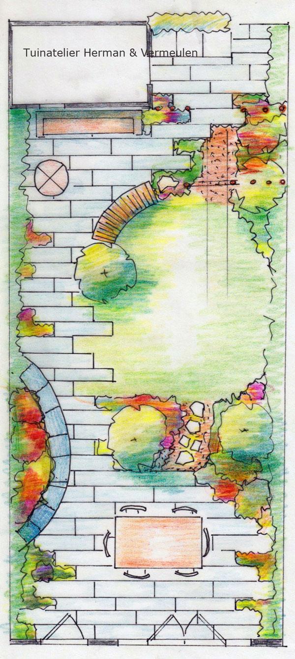 ontwerptekening kindvriendelijke tuin