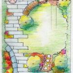 ontwerptekening van tuinontwerp speelse stadstuin
