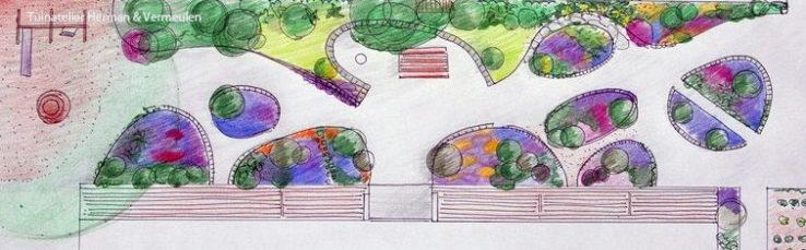 ontwerptekening met vrolijke kleuren