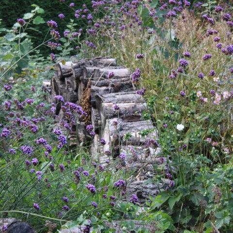 stapelmuurtje van houtblokken
