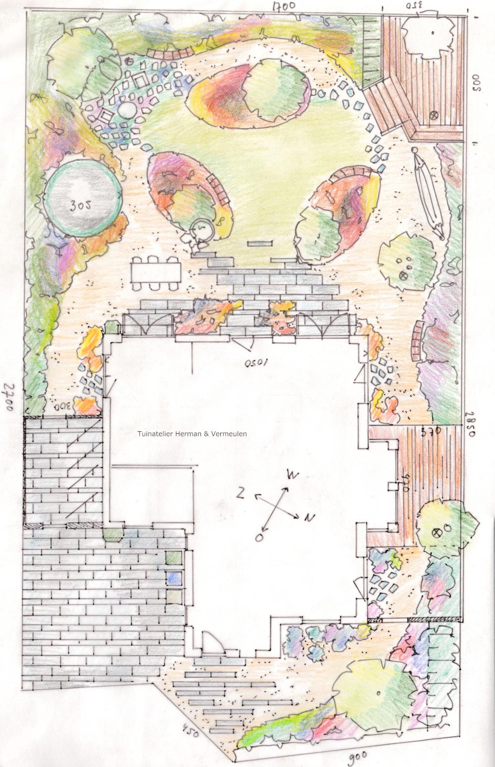 tuinontwerp kleurige familietuin aan het water